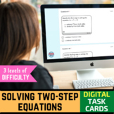 Two Step Equations Digital Task Cards