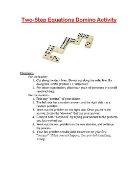 Two-Step Equations Domino Activity