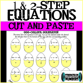 Two-Step Equations Easter Eggs Cut and Paste Activity