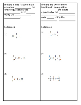 Two Step Equations Foldable Clearing Fractions