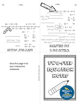 Two-Step Equations Foldable Notes and Practice