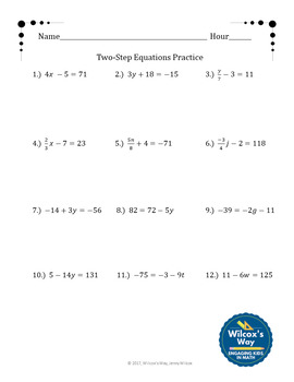 Two Step Equations Folding Notes and Practice