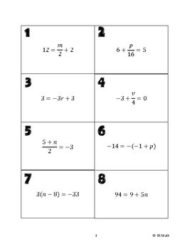 Two-Step Equations Group Expert Activity