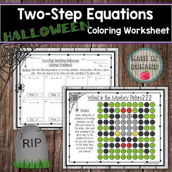 Two-Step Equations Halloween Coloring Worksheet
