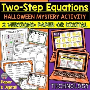 Two-Step Equations Halloween Task Cards Mystery Activity