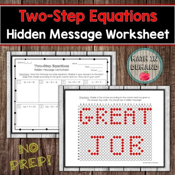 Two step equations hidden message worksheet by math in demand tpt two step equations hidden message worksheet ibookread
