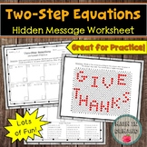 Two-Step Equations Hidden Message Worksheet (Thanksgiving Edition)