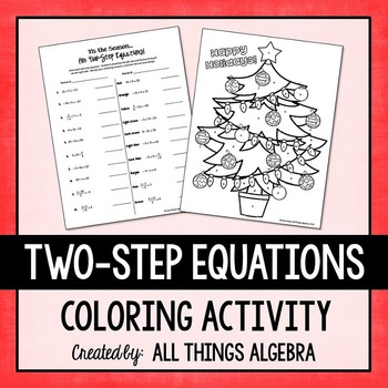 Two-Step Equations Holiday Coloring Activity