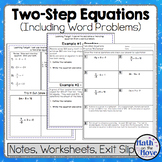 Two-Step Equations - Interactive Notes, Worksheet and Assessment