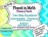 Two Step Equations Intermediate Fractions : No Prep Fluent in Math Series
