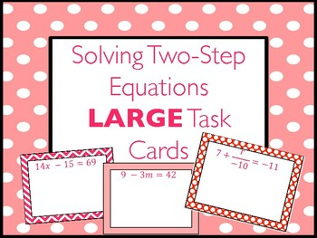 Two-Step Equations LARGE Task Cards