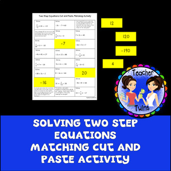 Two Step Equations Matching Cut and Paste Activity