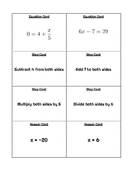 Two-Step Equations Matching Game - Individual, Partner, or Group Activity