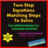 Two-Step Equations Matching Steps to Solve Activity