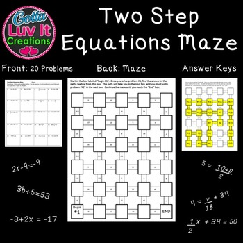 Solving Equations - Two Step Equations 2 Mazes