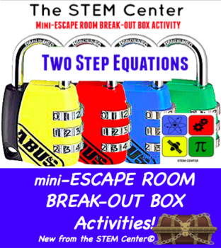 Two Step Equations Mini Escape Room - Break Out Box