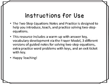 Two-Step-Equations Notes and Practice Resources