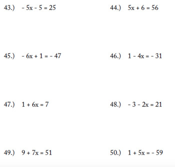 Two-Step Equations Packet (50 problems)