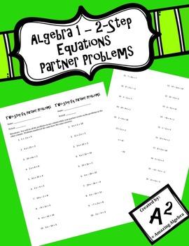 Algebra 1 - Two-Step Equations Partner Problems