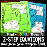 2-Step Equations Partner Scavenger Hunt Activity w/ GOOGLE for distance learning