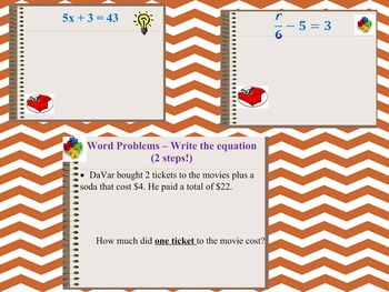 One & Two Step Equations - *PowerPoint* file
