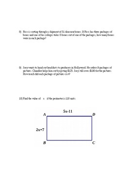 Two Step Equations Quiz