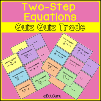 Two Step Equations Quiz Quiz Trade Game