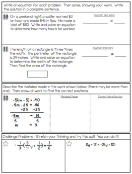 Two-Step Equations Quiz or Worksheet (Includes Word Problems!).