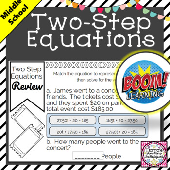 Two Step Equations Review BOOM Cards
