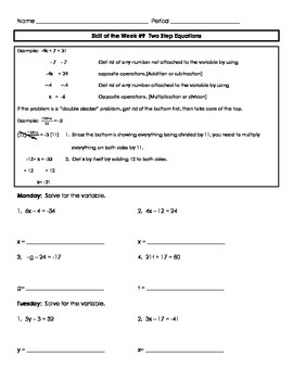 Two-Step Equations Review Skill of the Week (Wk 9)