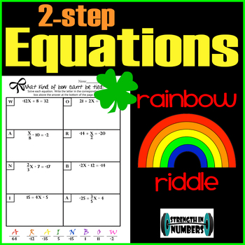 Two-Step Equations Riddle Worksheet Self Checking Rainbow St. Patricks