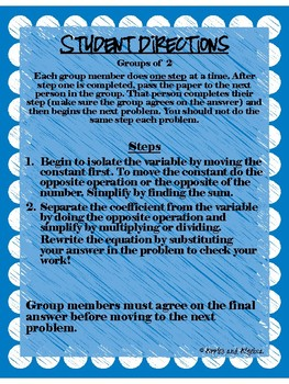 Two Step Equations Round Robin Activity