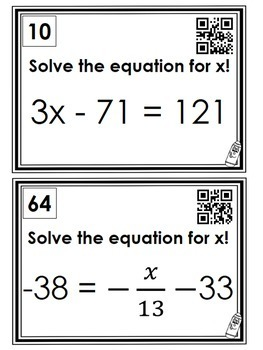 Two Step Equations: Scavenger Hunt *QR Codes Optional*