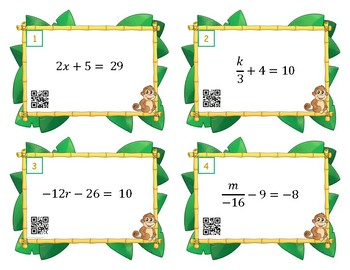 Two Step Equations Scoot or Task Cards