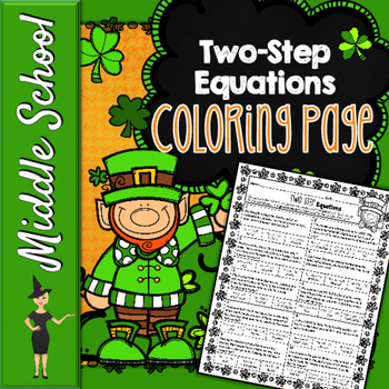 Two-Step Equations Coloring Page - St. Patrick's Day