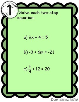 Two-Step Equations {Stations}