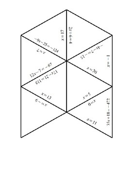 Two-Step Equations Tarsia Puzzle