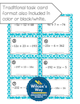 Two Step Equations Task Card Activity