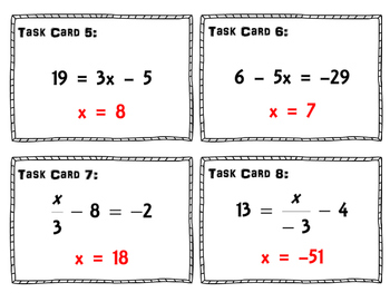 Two Step Equations Task Cards