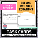 Two Step Equations Activity Task Cards