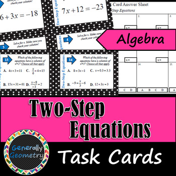 Two-Step Equations Task Cards-Algebra 1