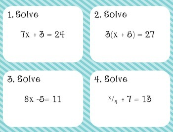 Two Step Equations Task Cards (Aligned to CCSS 7.EE.4)