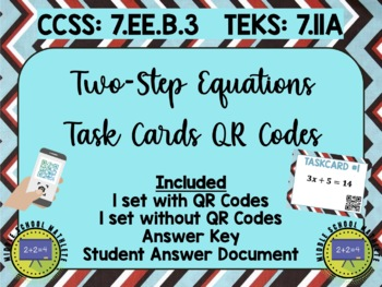Two-Step Equations Task Cards QR Codes