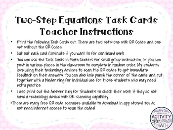 Two-Step Equations Task Cards with QR Codes