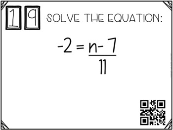 Solving Two-Step Equations Task Cards with QR Codes GOOGLE Slide Version