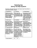 Two-Step Equations Think-Tac-Toe