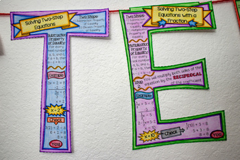 Two-Step Equations Wall Sign (Great 4 Banner or Bulletin Board)