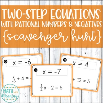 Two-Step Equations With Rational Numbers & Negatives Scavenger Hunt Activity