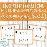 Two-Step Equations With Rational Numbers (No Negatives) Scavenger Hunt Activity