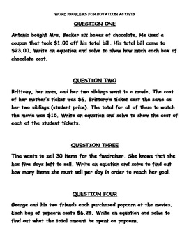 Two-Step Equations Word Problem Activity